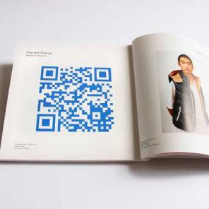 Dierdre Pearce, like dorian grey maybe, 2013. Digital image installed in exhibition catalogue, website, documentary photographs, digital print, masking tape, qr code. Photograph Dierdre Pearce.