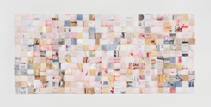 Dierdre Pearce, sampler, 2014. Torn pages from visual diary, foam core, pins. Photograph David Paterson.