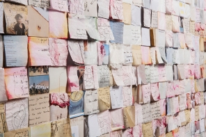 Dierdre Pearce, sampler, 2014 (detail). Torn pages from visual diaries, foam core, pins. Photograph David Paterson. Dierdre Pearce, sampler, 2014 (detail). Photograph David Paterson.