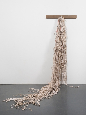 Dierdre Pearce, remnants, 2014. Found objects, filament, bone, poly-cotton textile, natural dyes, paint. Photograph David Paterson.