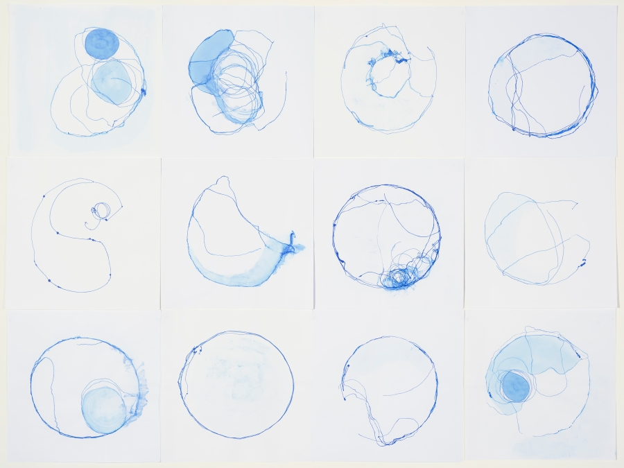 Dierdre Pearce, ocular transformations, 2016. Nine from a series of 14. Collaborative drawings between the drawing machine petrie dish (2016) and and the artist. Each 60 x 60 cm. Photograph Brenton McGeachie.
