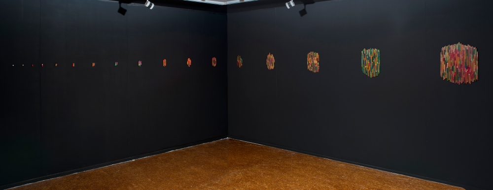 Dierdre Pearce, Merz work (2015-). Installation and performance documentation at Canberra Contemporary Art Space 2016. Found materials, balsa, jewellery findings, digital photographs, screen. Image Brenton McGeachie, courtesy Canberra Contemporary Art Space.
