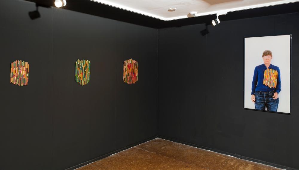 Dierdre Pearce, Merz work (2015-). Installation and performance documentation. Found materials, balsa, jewellery findings, digital photographs, screen. Image Brenton McGeachie.
