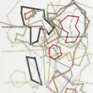 Dierdre Pearce, conservation of momentum (space), 2013. Washi tape on Wenzhou paper. Photograph Brenton McGeachie.